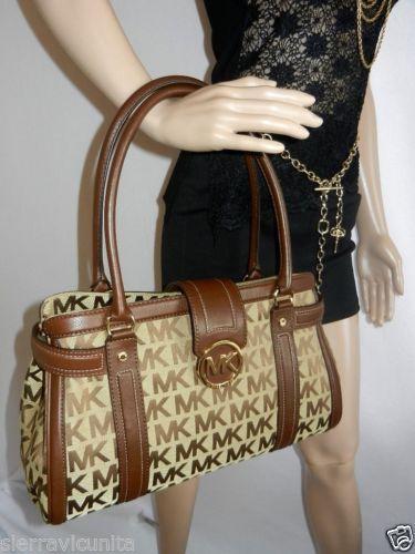 NWT Michael Kors Westbury Beige Mocha MK Signature Jacquard Shopper Handbag 537ff9076d8ef