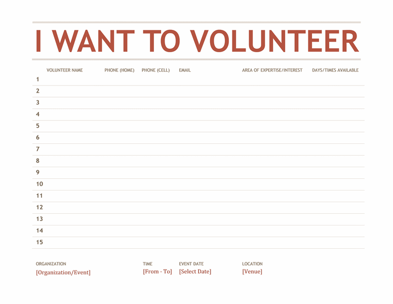 Volunteer SignUp Sheet  Templates  Jesus  Church