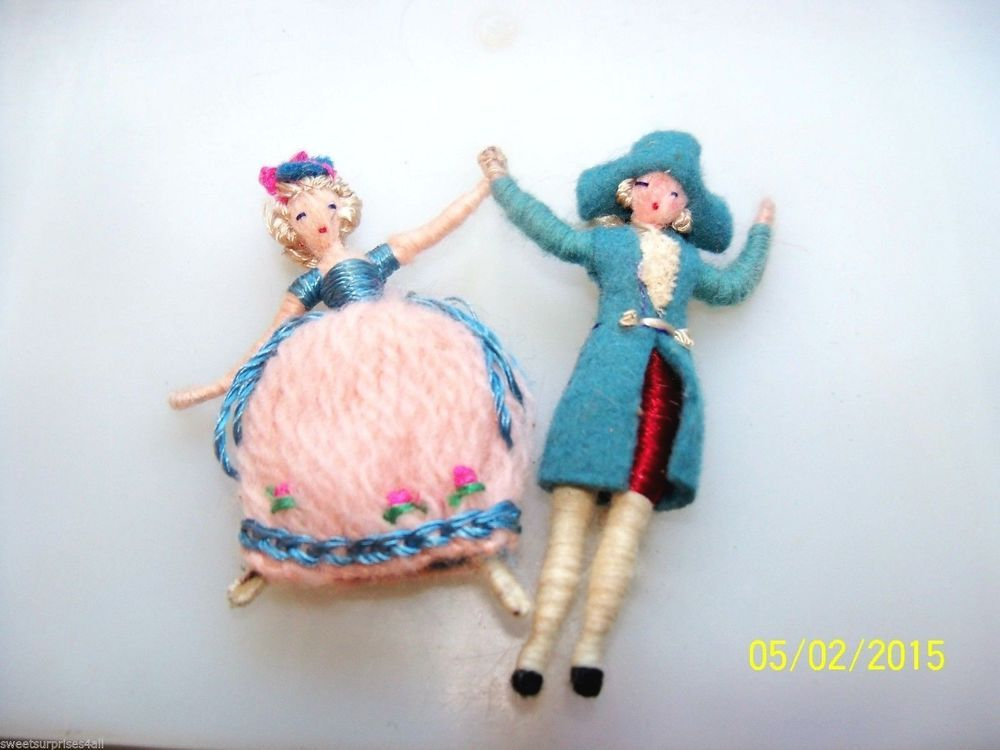 VTG Dollhouse MINIATURE Victorian doll COUPLE attached man lady small details