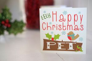 """Geordie Mugs Christmas Card www.wotmalike.co.uk £2.10 Free Postage """"Geordie Mugs Happy Christmas Pet Card"""""""
