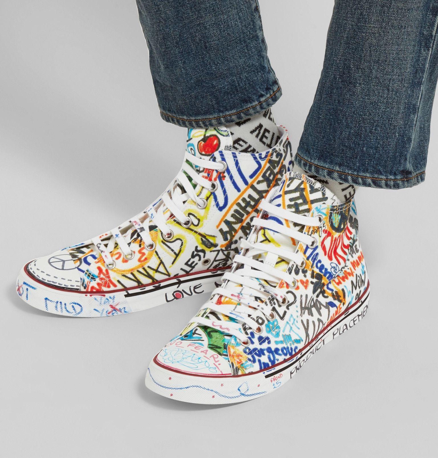 8e0e72ca4 Vetements - Printed Canvas High-Top Sneakers | Men's Fashion in 2019 ...