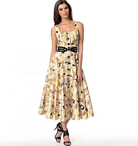 Button-front dress sewing pattern has a flared skirt and ...