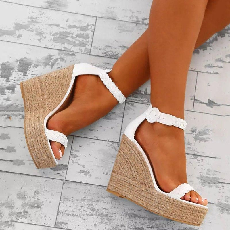 Women PU Wedge Sandals Casual Comfort Adjustable Buckle Shoes - Source by nanou10081995 -