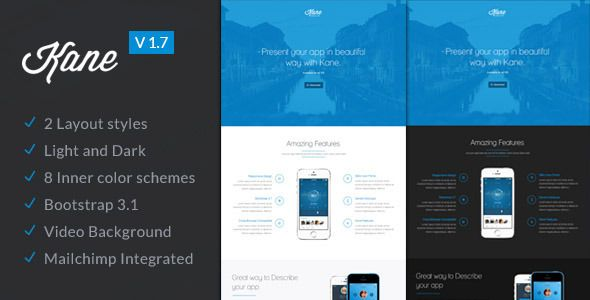 Kane Responsive App Landing Page Builder Pinterest Template