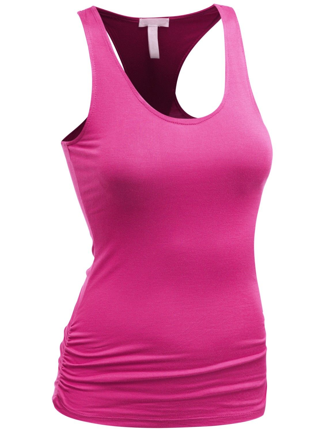 Doublju Women's Basic Tank Top With Shirring Detail (AWTTK0119) #doublju