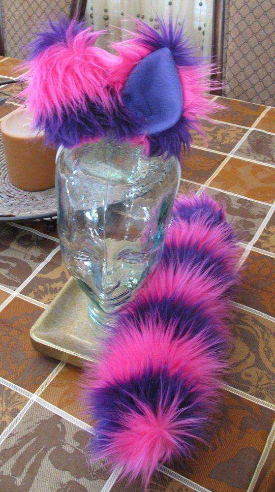 Cheshire Cat pink purple striped luxury shag fur ears /& tails in 2 sizes