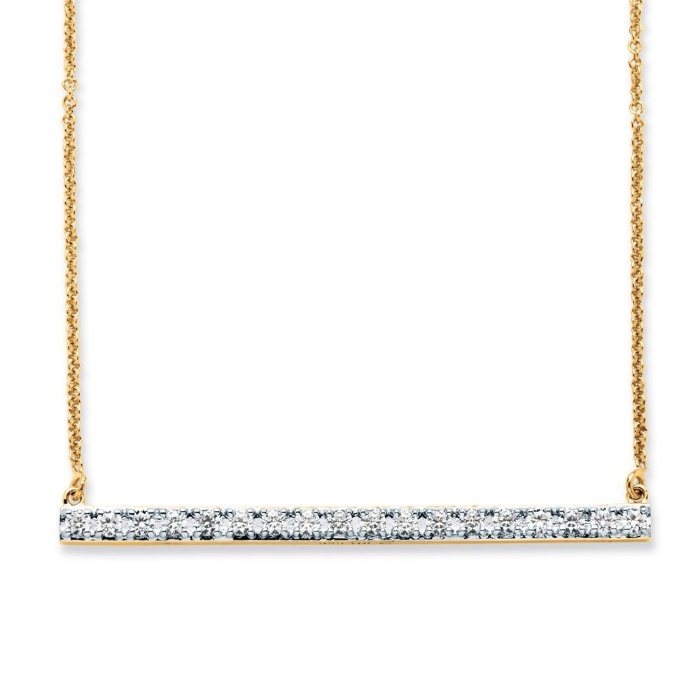 Palm Beach Jewelry PalmBeach .54 TCW Round Cubic Zirconia Bar Necklace in 18k Gold over Sterling Silver Classic CZ