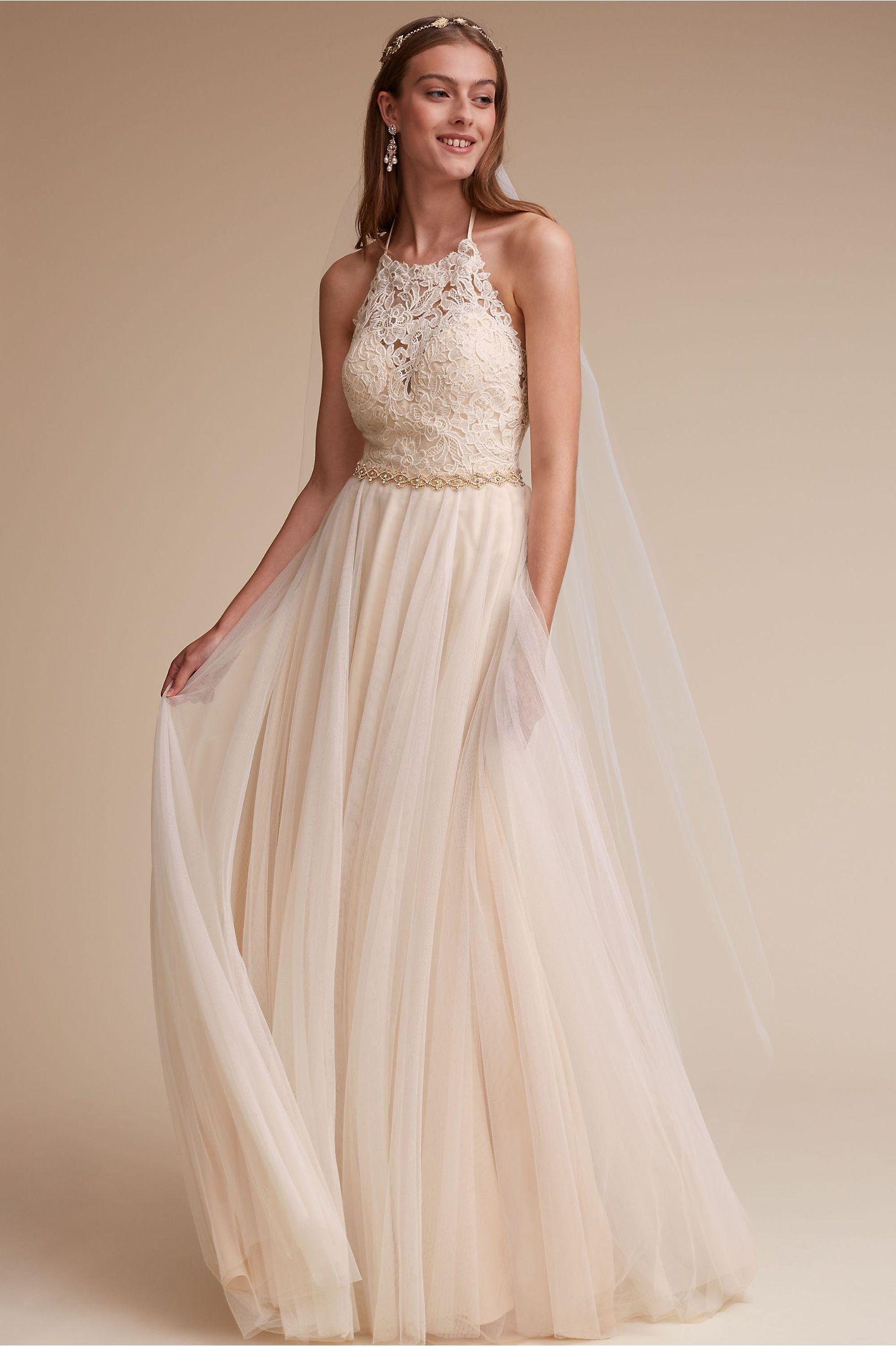Bhldn S Watters Josie Gown In Ivory Champagne Wedding Dresses Lace A Line Wedding Dress Halter Wedding Dress