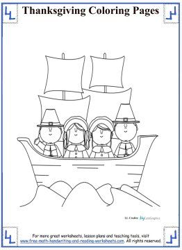 Thanksgiving Coloring Pages - Pilgrims on Mayflower
