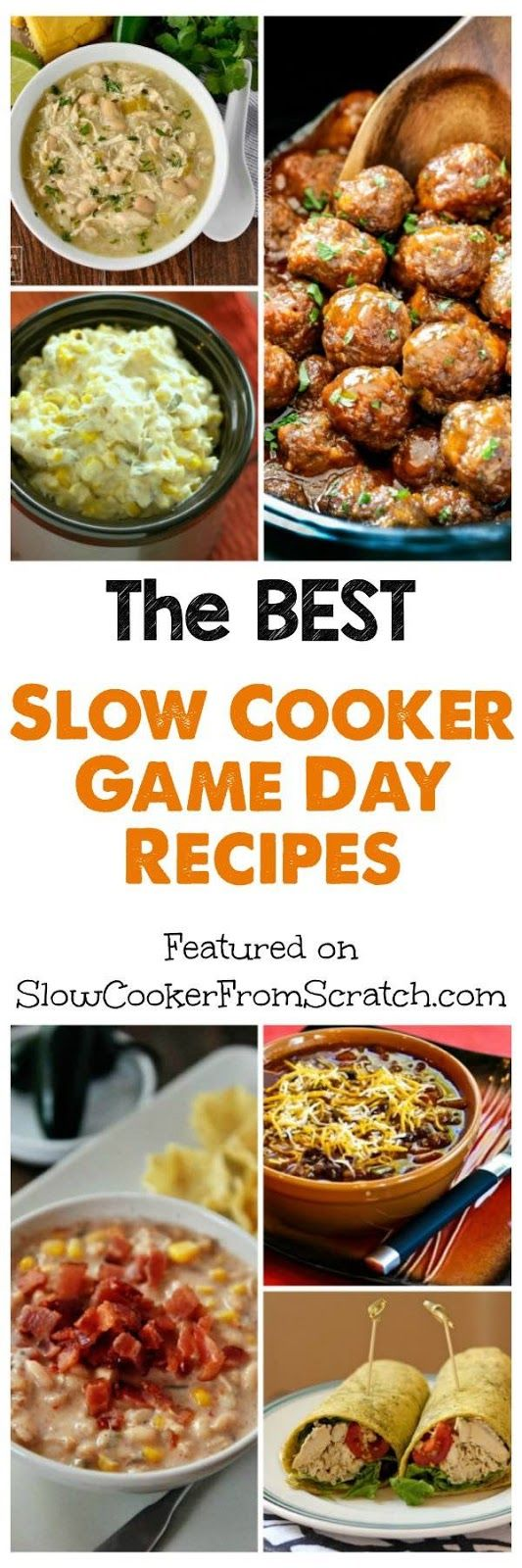 Here are The BEST Slow Cooker Game Day Recipes; using the slow cooker can make it a lot easy to create yummy food for football weekends or Super Bowl parties, and this post has all the recipes you need! [found on Slow Cooker from Scratch.com]