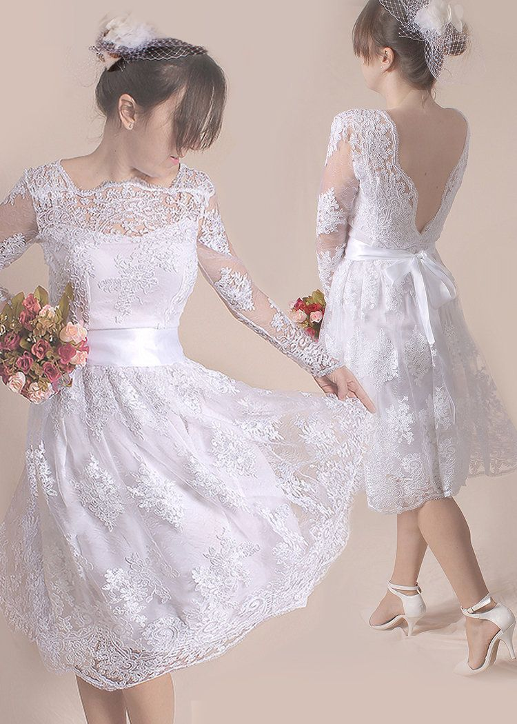 Short lace wedding dressbridal gown with sleeve and open back