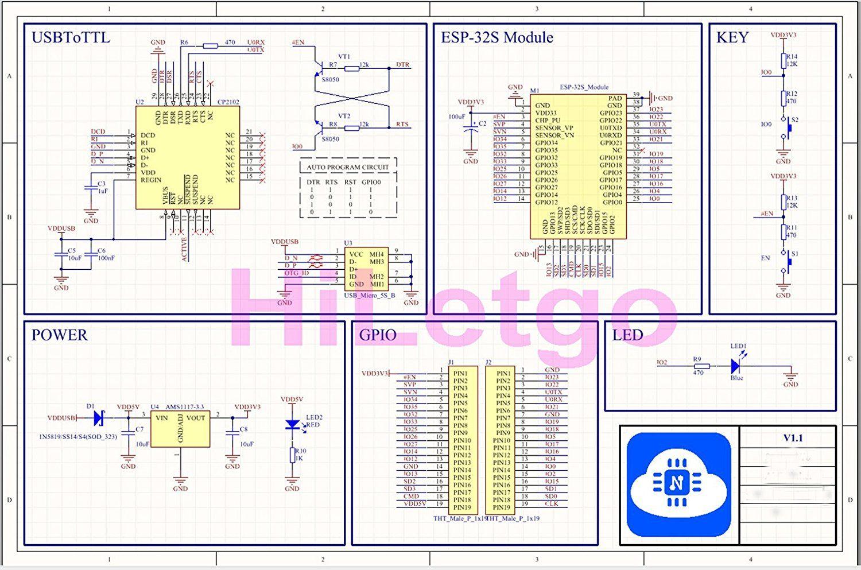 ESP32 Schaltplan Schematic mit USB-Seriell Adapter und ...