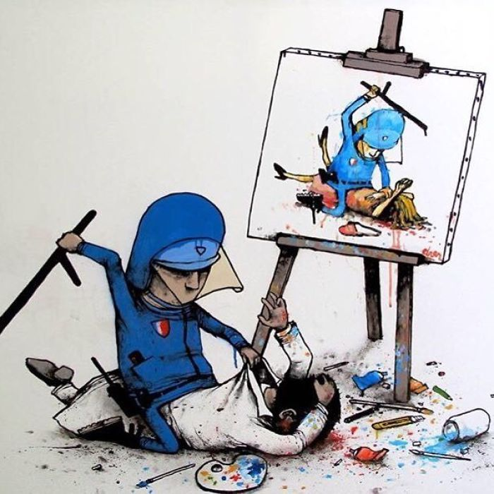 """Ilustraciones satíricas por Dran """"El Banksy fra... - Frogx Three"""