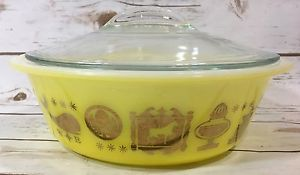 Vintage Glasbake Covered Round Casserole Dish With Lid Yellow Gold Whale Horse  | eBay