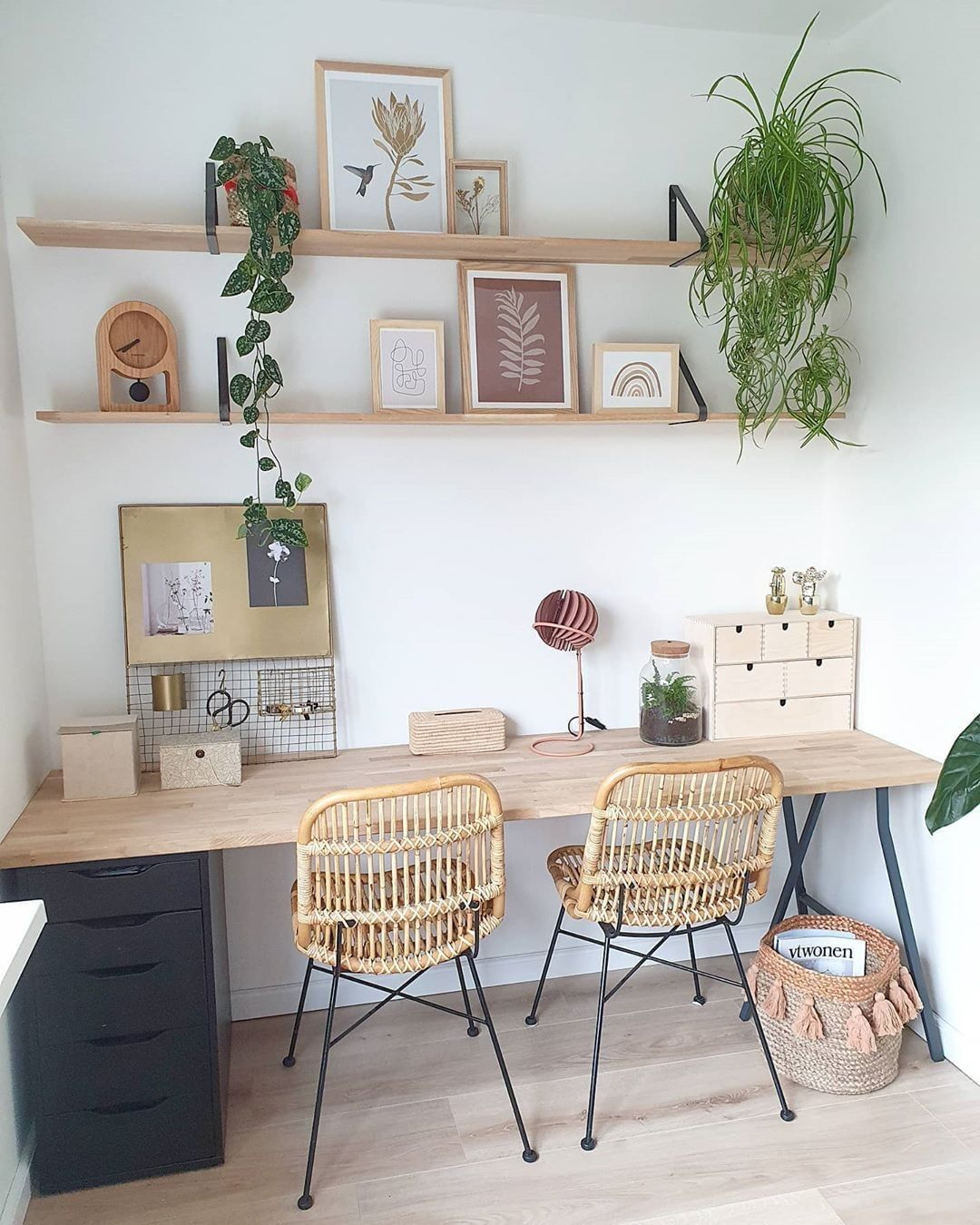 Fy On Instagram Earth Tones Home Office Goals We Love The Way Nieks Servies Has Styled These A Home Office Decor Work Office Decor Cheap Home Decor