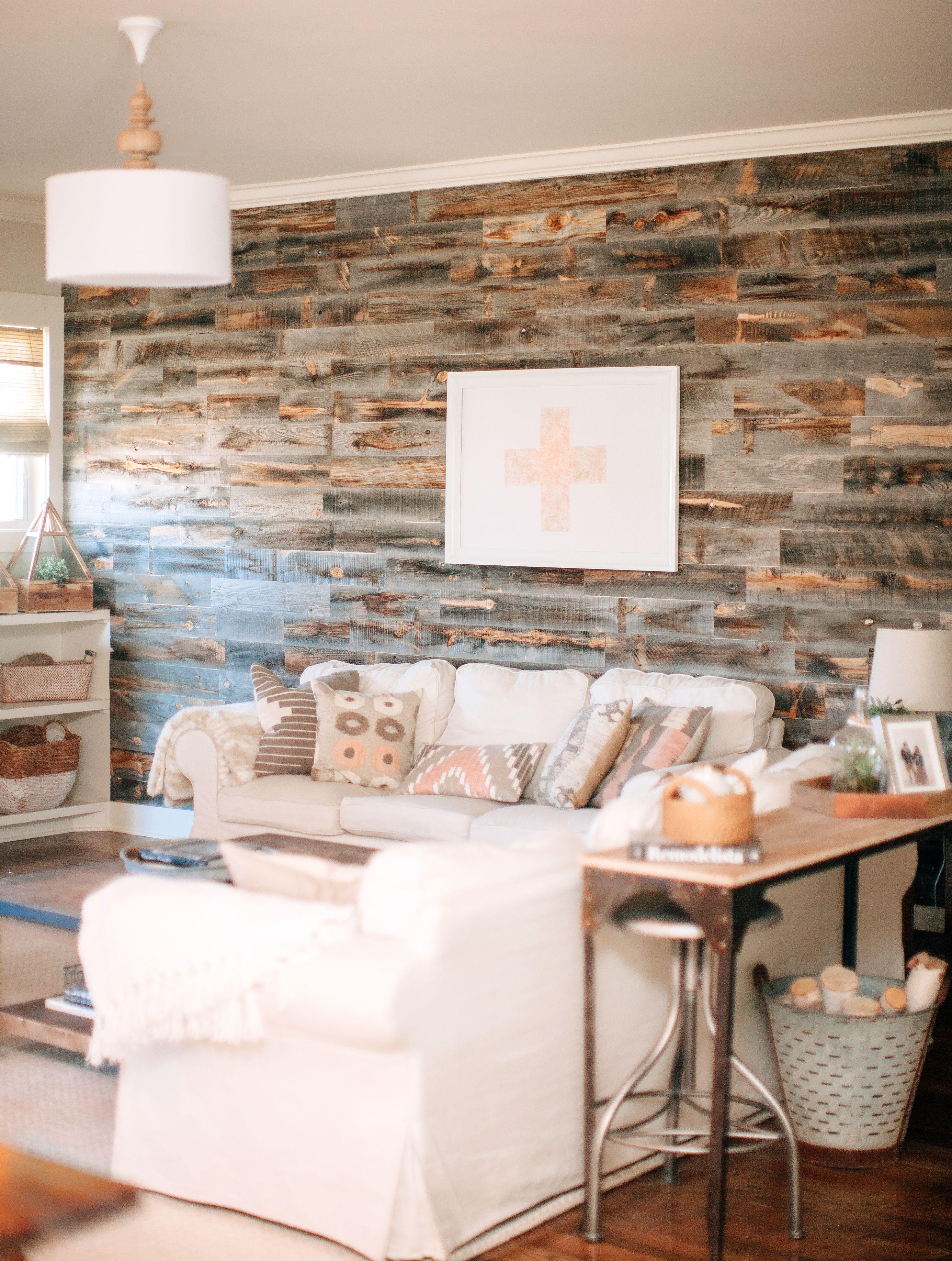 Josh Meg S Living Room Stikwood Reclaimed Wood Wall Paneling