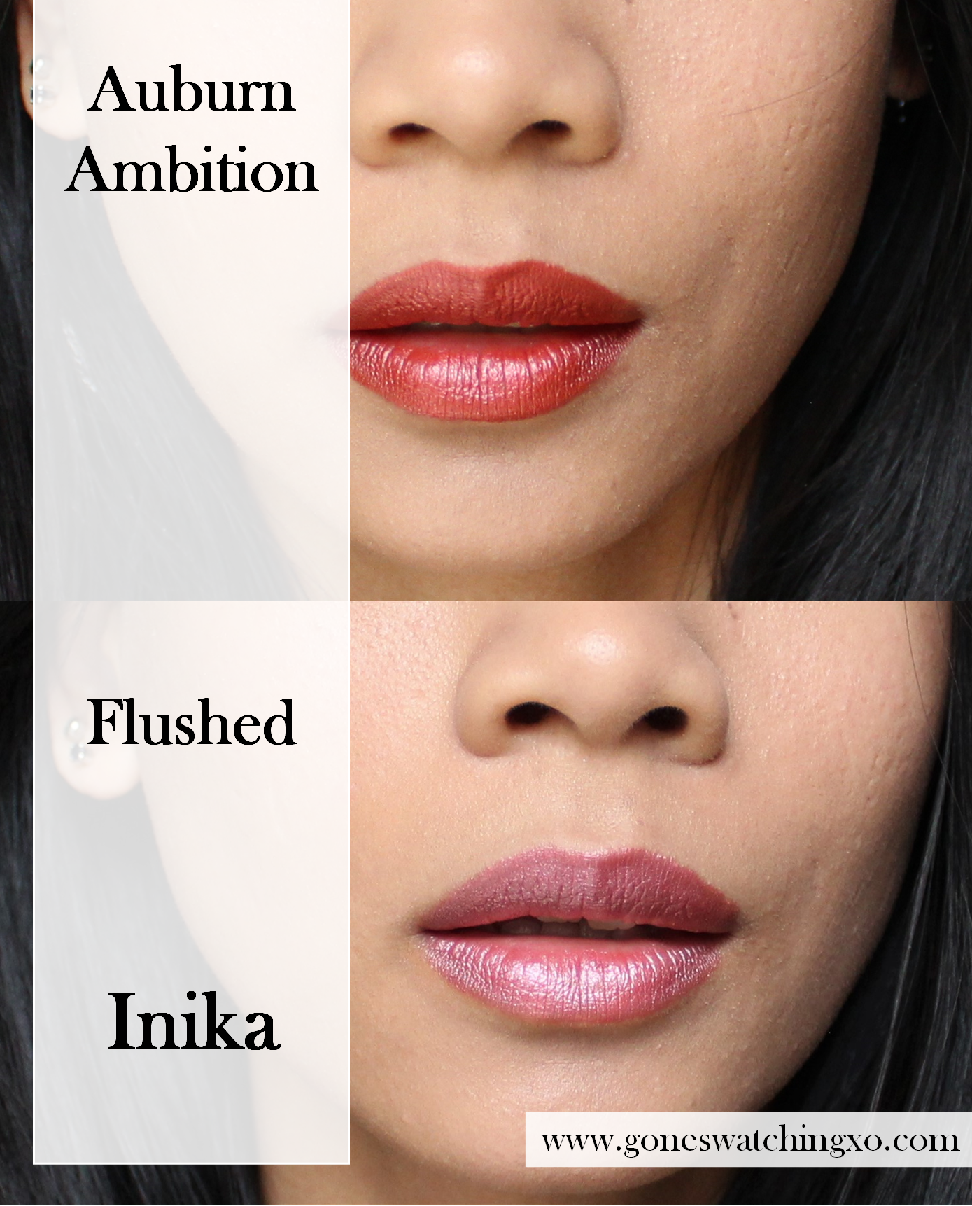 Inika Lipstick swatches on Asian Skin. All Natural