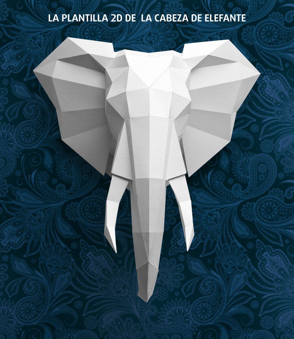 La plantilla 2d de la cabeza de elefante | Origami