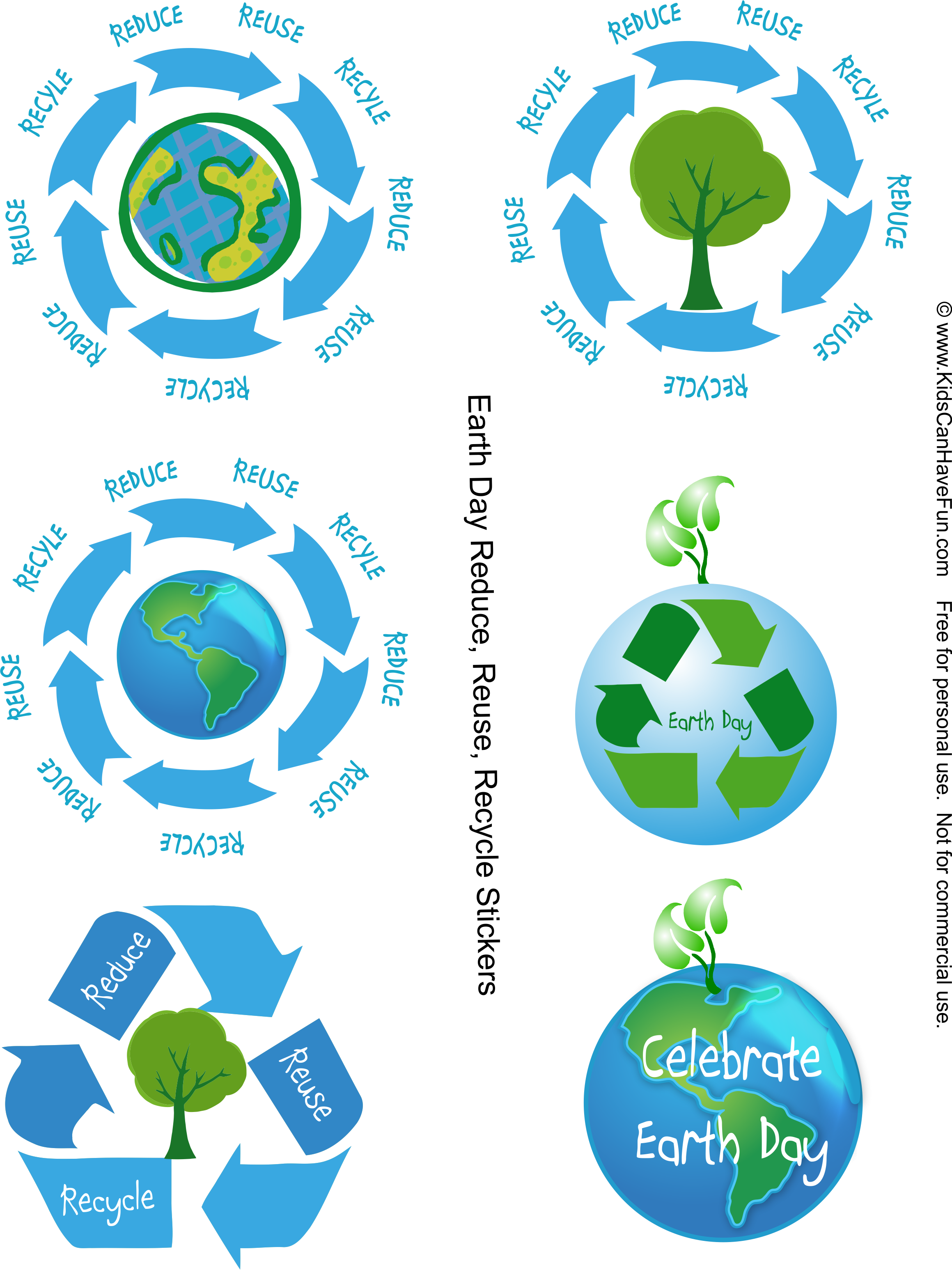 Reduce Reuse Recycle Earth Day Stickers Httpkidscanhavefun