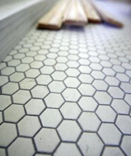 White Hex Tile With Gray Black Grout Laundry Room Flooring