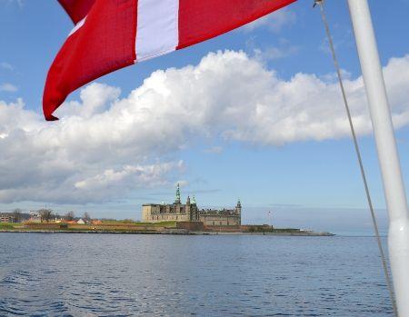 Hamlet's Castle and the Danish Flag.