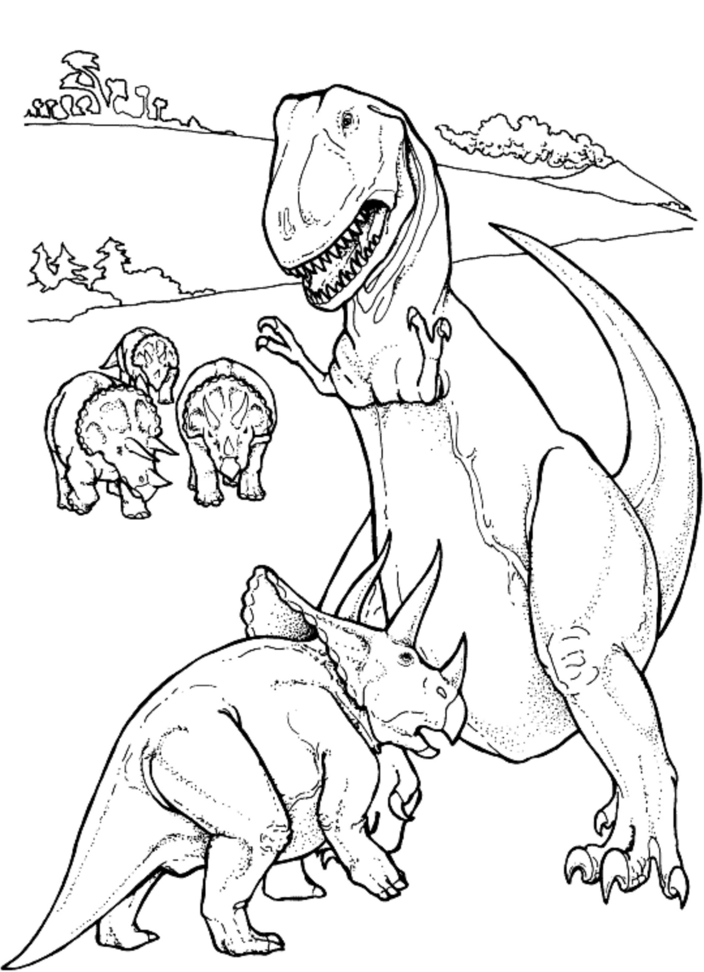Triceratop vs T Rex Dinosaur Coloring Pages | Kids Colouring Pages ...