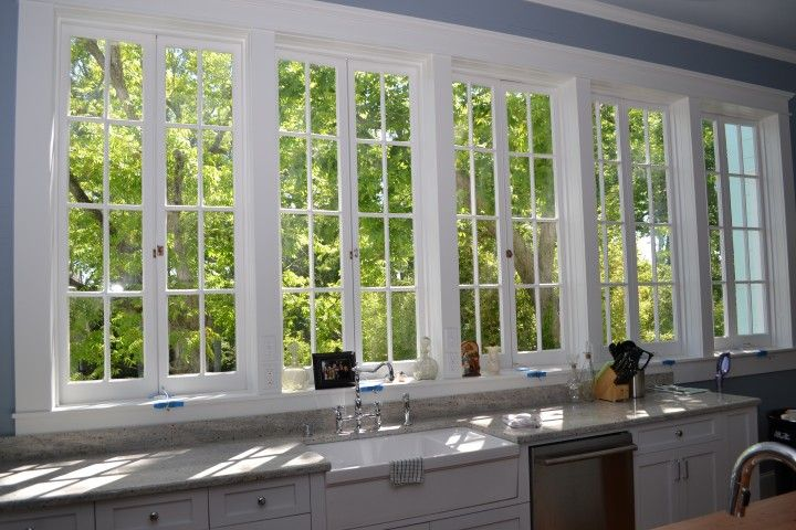 These Marvin windows allow the perfect lakefront view from this kitchen.