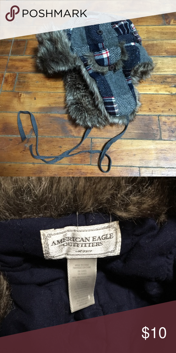 d048836459299 Faux fur trapper hat Like new. Flannel trapper hat with faux fur. American  Eagle Outfitters Accessories Hats