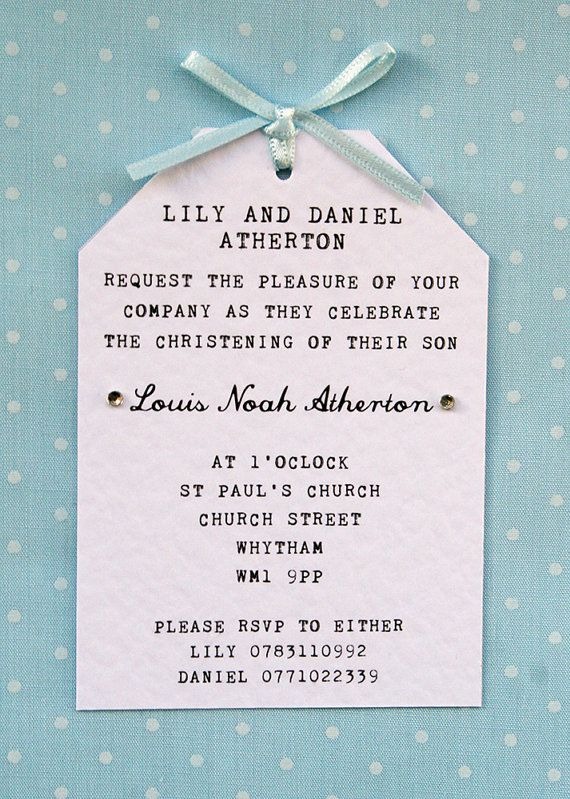 Boy Christening, Naming Ceremony Invitation - Elegant, Simple, Tag - naming ceremony invitation