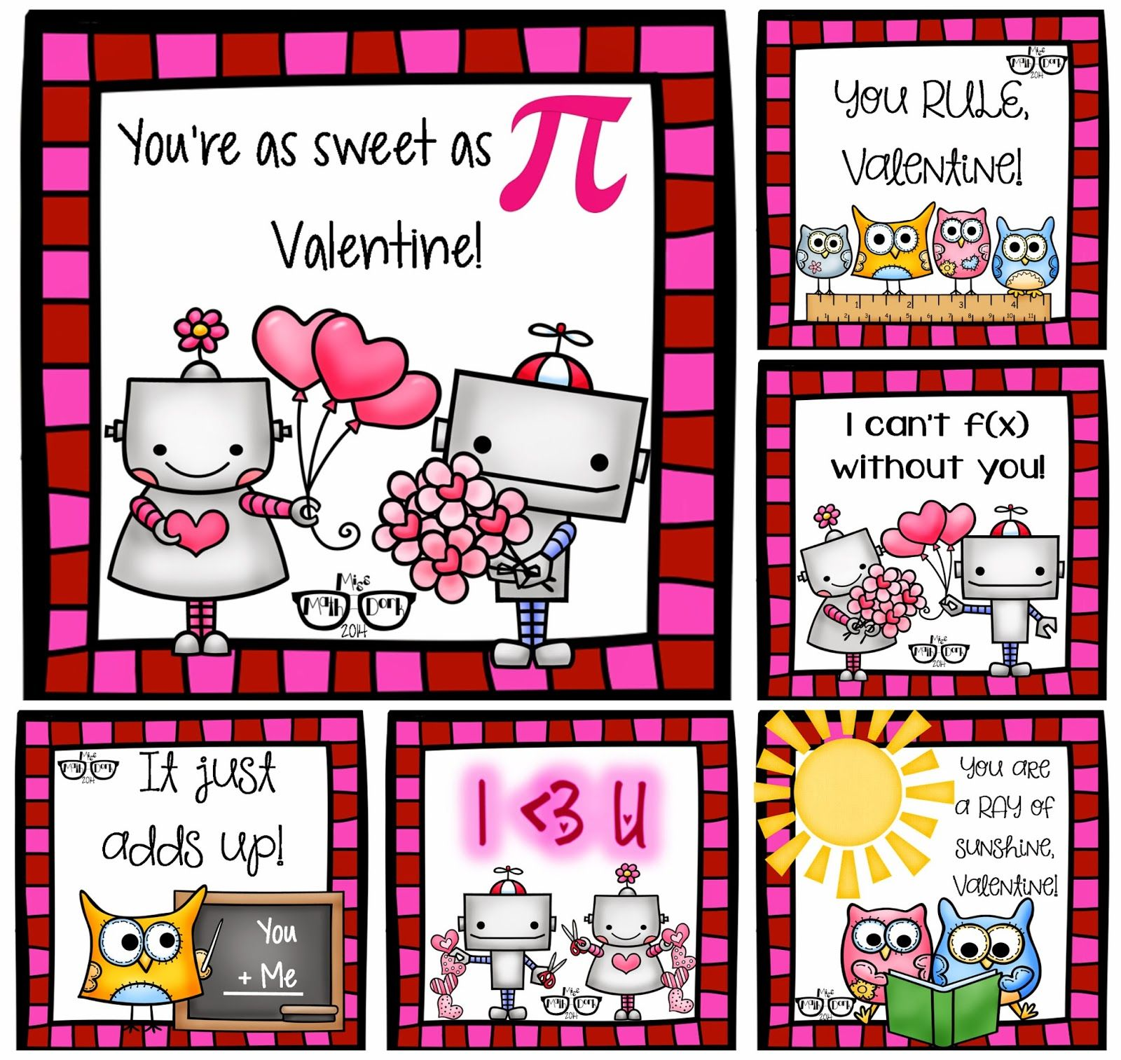 Missmathdork Middle School Math Made Fun Funny Math Valentines