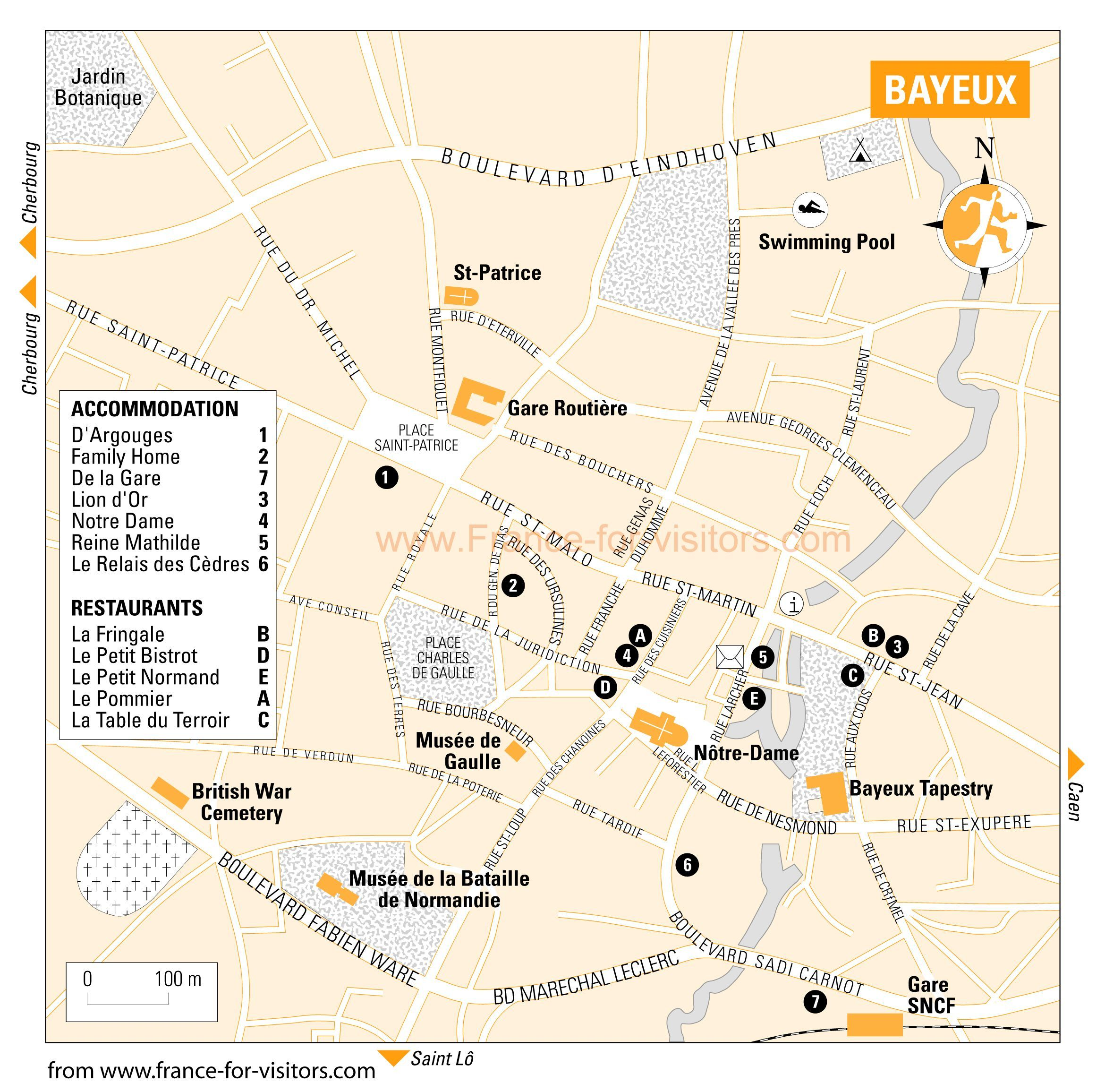 Bayeux Tourist Map - Bayeux France • mappery | Brittany-Normandy ...
