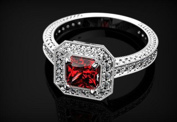 White Gold Ruby Ring Ruby Engagement Ring White Gold Engagement Ring Ruby in White Gold White Gold Ruby Ring July Birthstone White Gold Ring