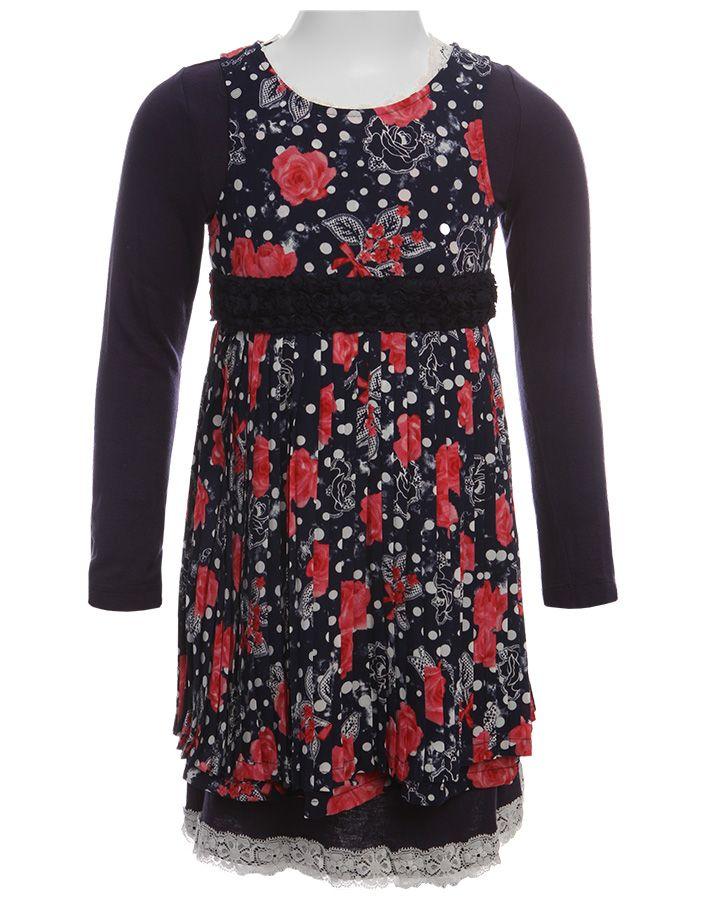 Pampolina Kleid mit Spitze in dunkelblau