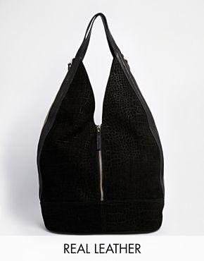 4d04adbeece6 ASOS – Legere Hobo-Tasche aus Leder und Wildleder mit Reißverschluss. Fall  HandbagsBag ...