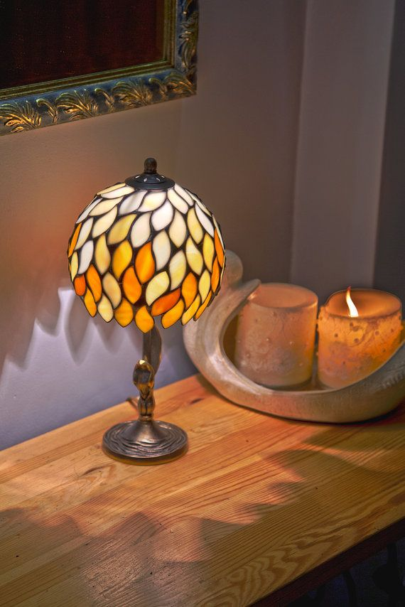 Small lamp shade stained glass lamp small lamp bedside lamp small lamp shade stained glass lamp small lamp bedside lamp bedside decor orange lamp shade nightstand decor bedroom lamps desk lamp aloadofball Choice Image