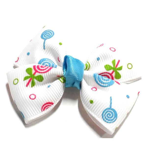 Hair Clip Handmade Korean Style White Cartoon Print Hair Bow Clip Ponytail Elastic Headband Babies Kids Girl S Bow Hair Clips Kids Hair Bows Bow Clips