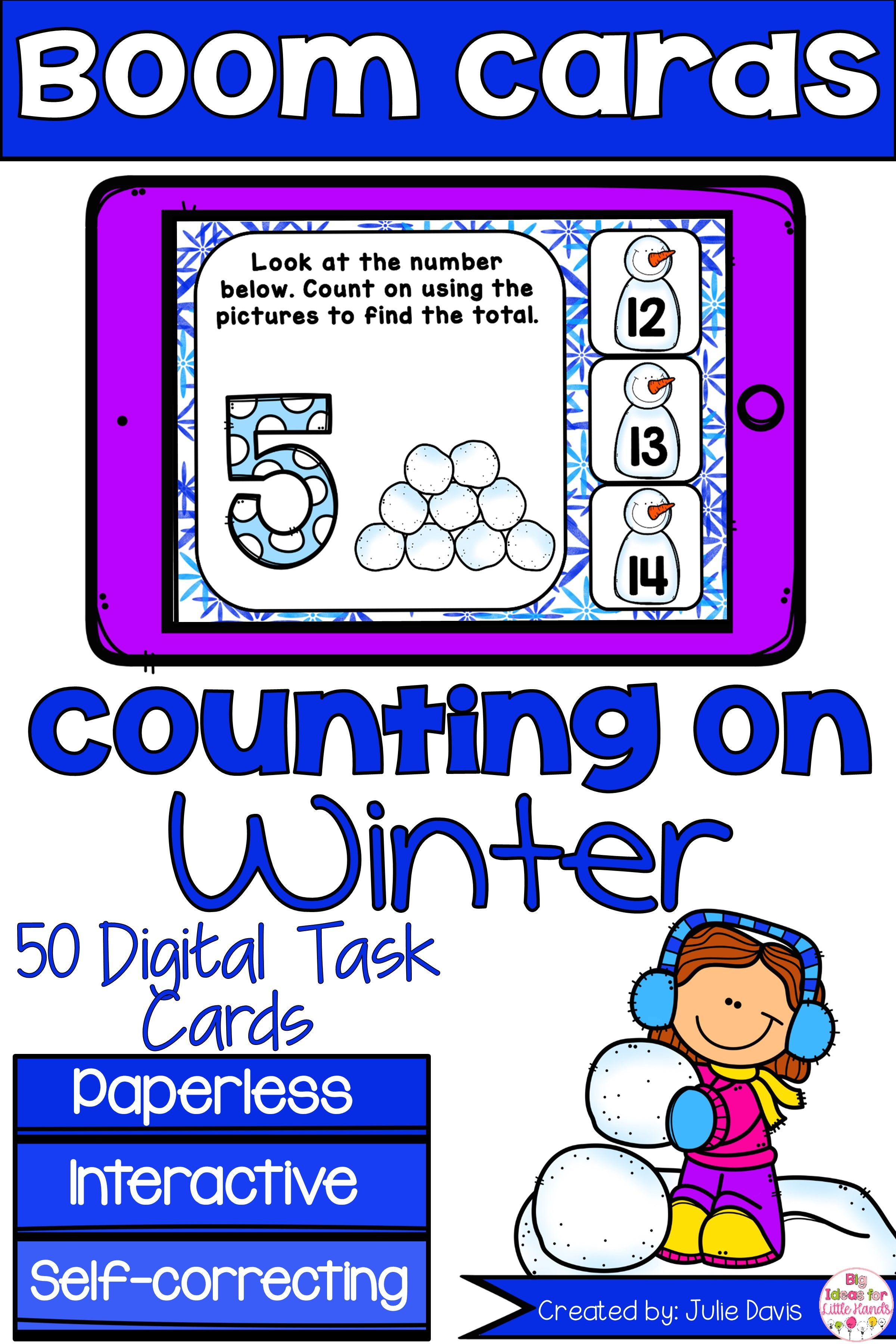 Winter Counting On Addition Digital Game Boom Cards