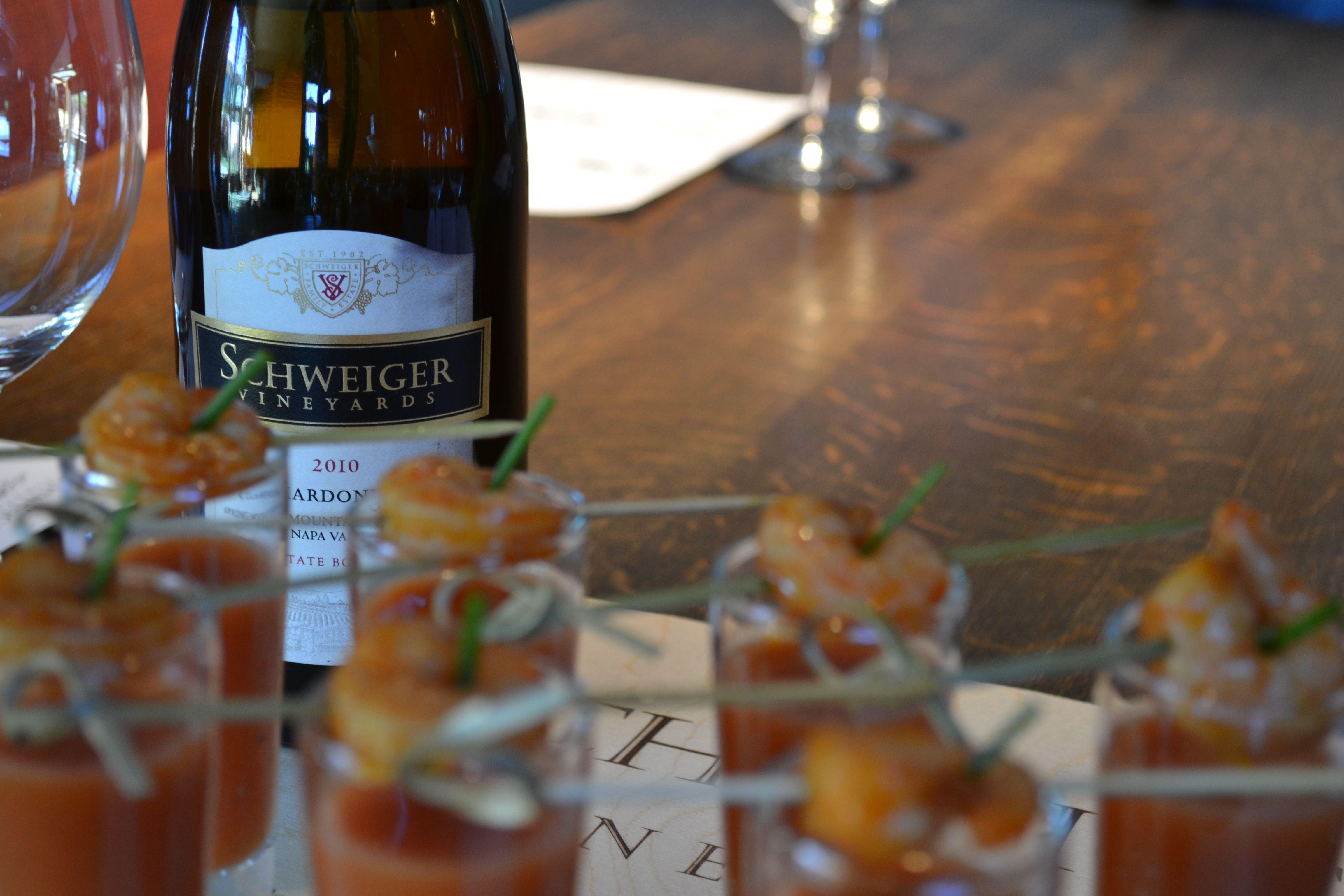 Pineapple Heirloom Tomato Gazpacho, Spiced Shrimp, Tarragon, Lemon Oil #schweigervineyards #chardonnay
