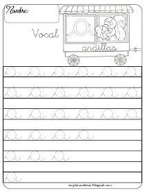 Caligrafía con la vocal a   actividades de lectura.   Pinterest   Kind