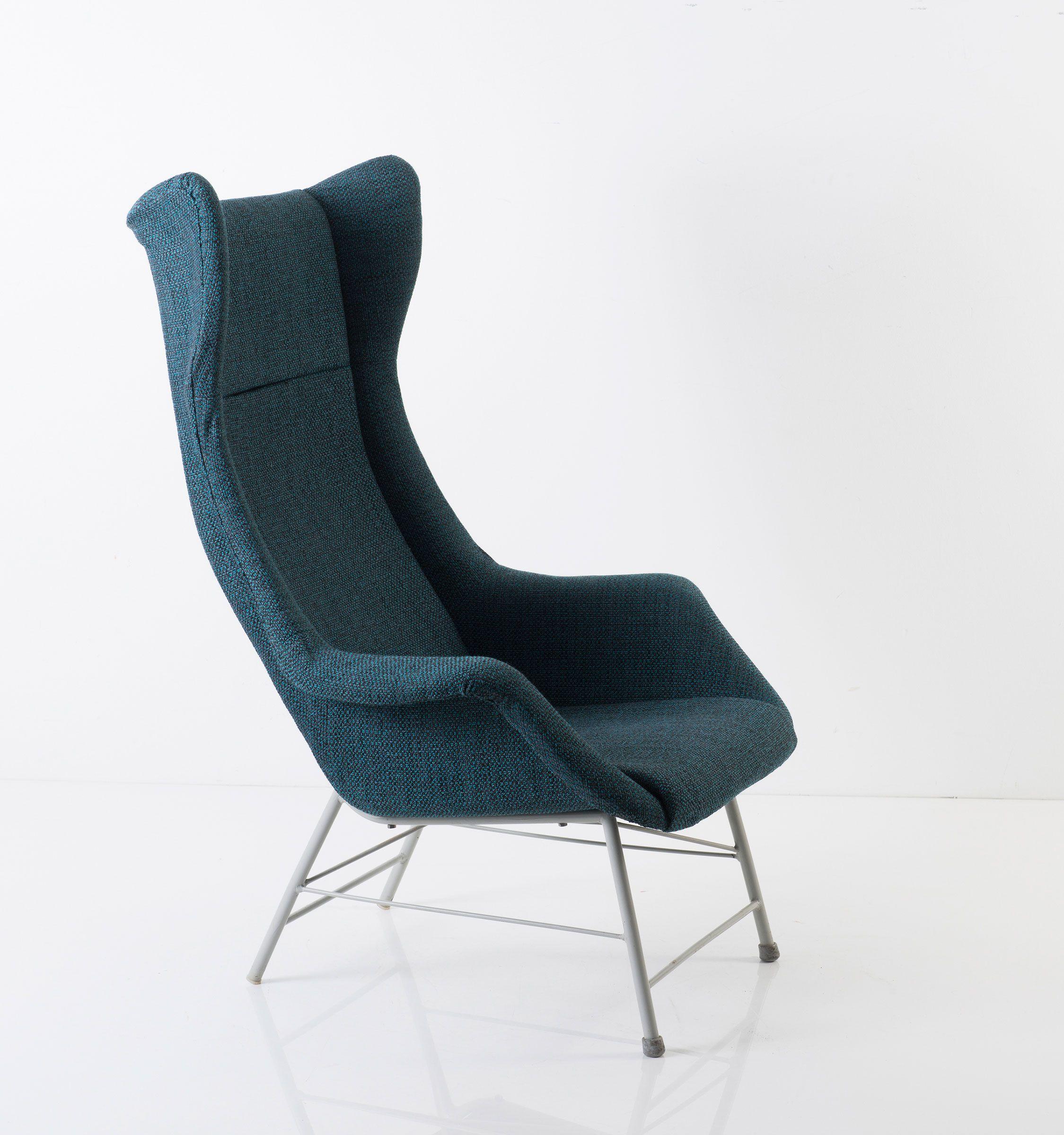 Miroslav Navrátil Enameled Metal Lounge Chair for Ton c1965