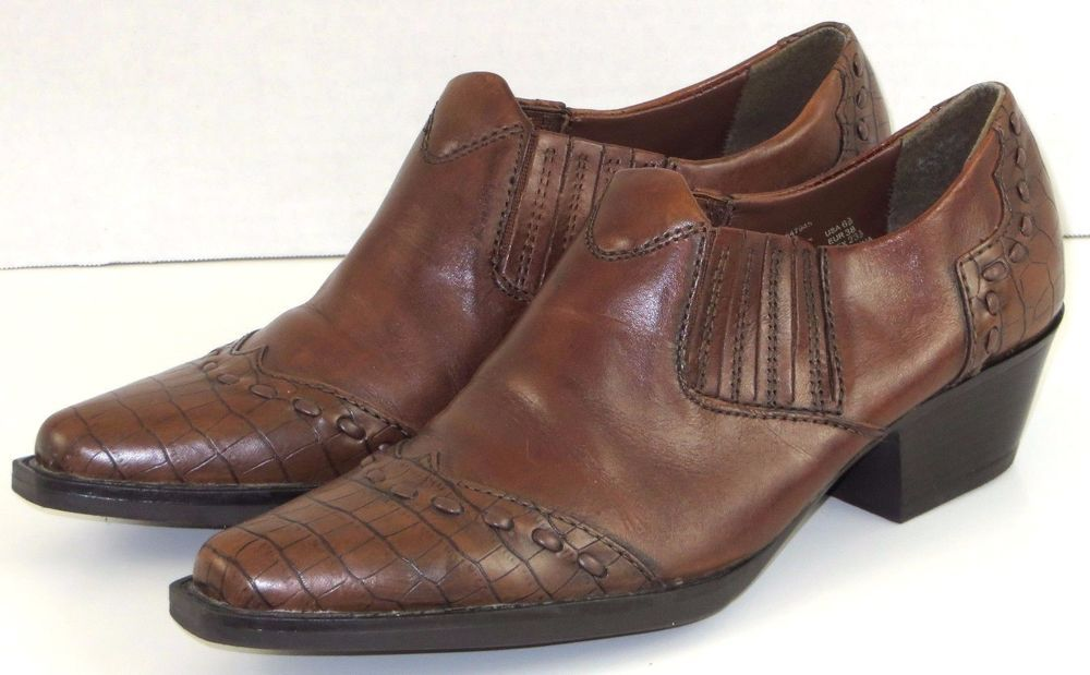 9077ab32 Womens Leather Western Booties Slip On Shoes Brown Earth Spirit Cheyenne  6.5 #Earth #Booties #Casual