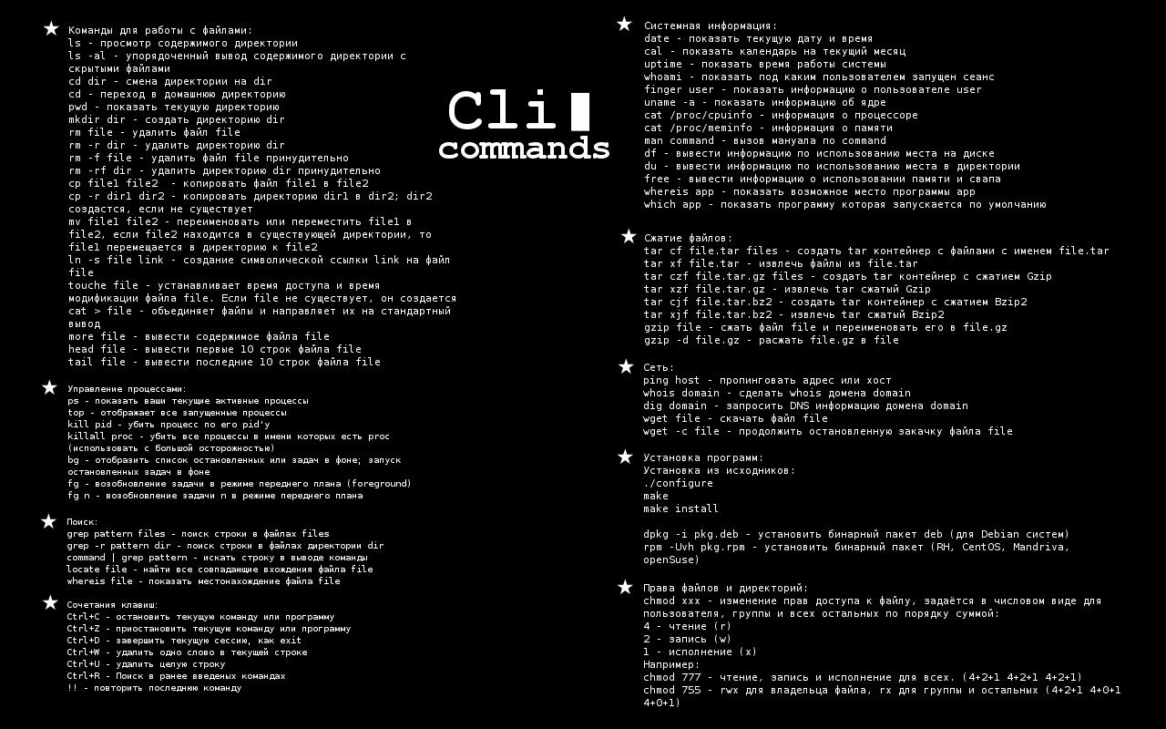 командами для начинающих в Linux  CLI commands | Linux