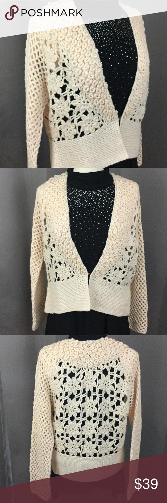 Vintage crochet cream open knit sweater Very unique cream colored ...