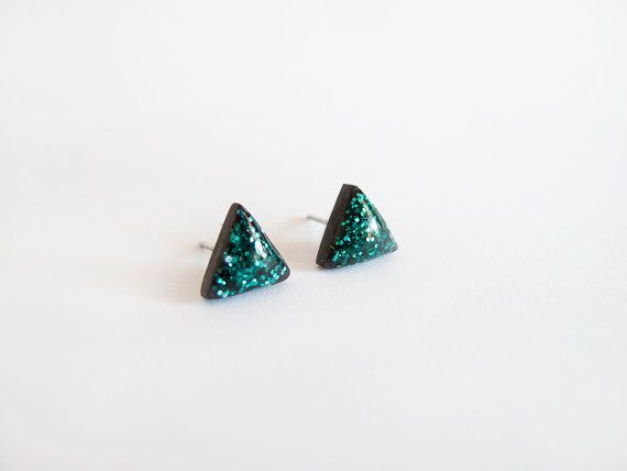Black Emerald Sparkly Triangle Stud Earrings - Hypoallergenic Surgical Steel Posts