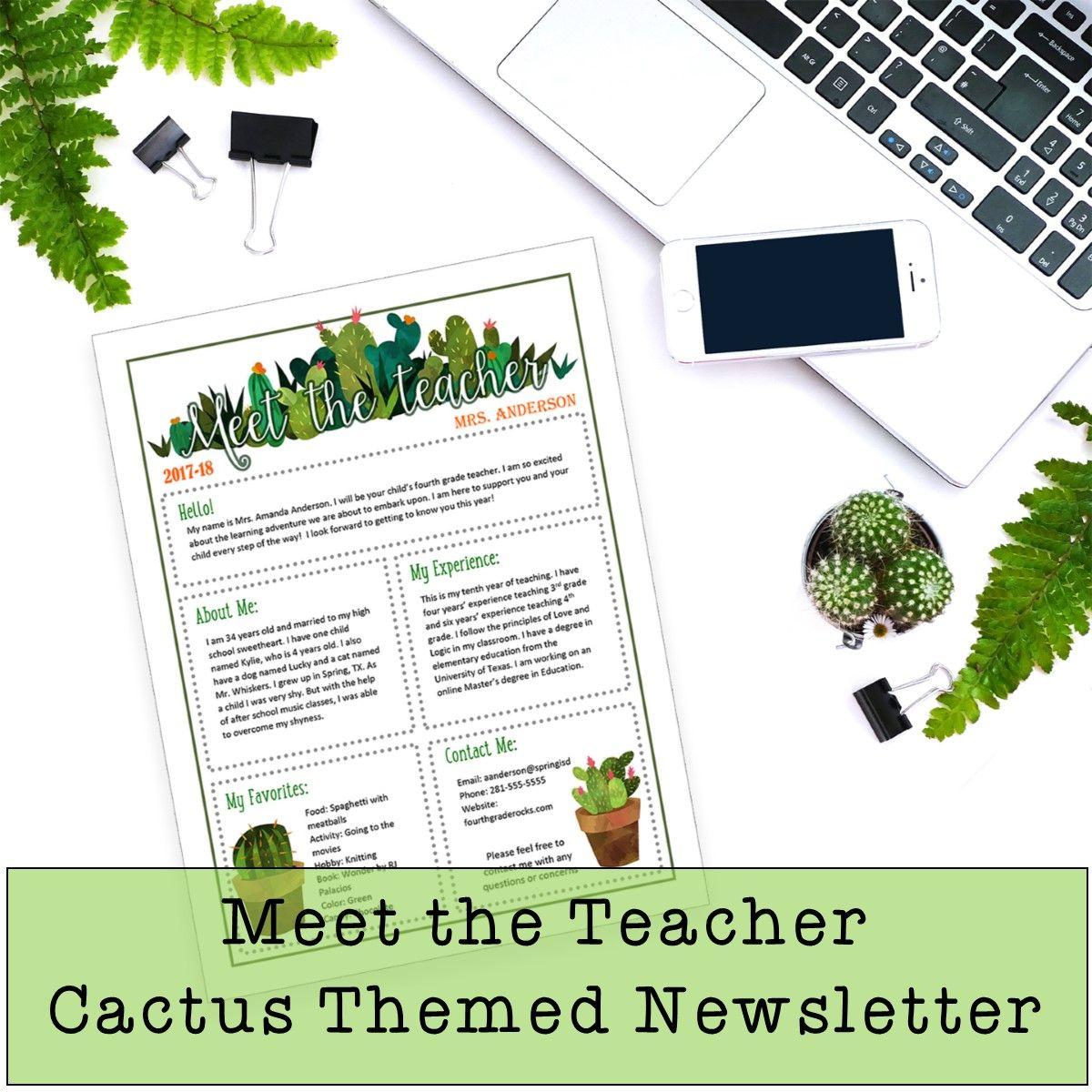 Meet The Teacher Template Editable Cactus Themed Newsletter Doc