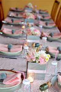 Pink And Grey Table Setting