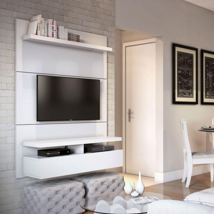 Painel Para Tv 40 Polegadas Zeus Branco Gloss 120 Cm Sala De Apartamento Tv De Sala De Estar Centro De Entretenimento