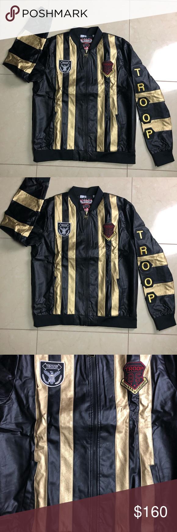 Troop Black Gold Jacket Size Xxl Black And Gold Jacket Gold Jacket Jackets [ 1740 x 580 Pixel ]