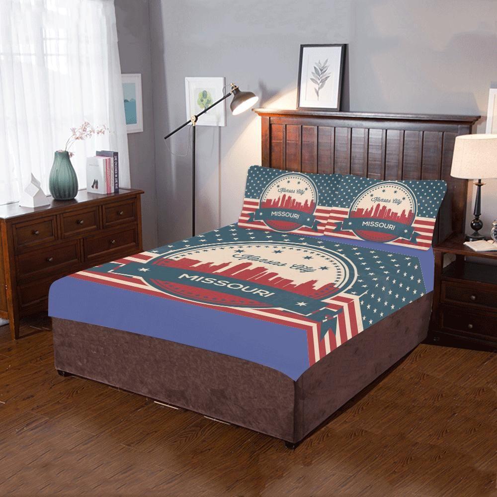 retro kansas city missouri skyline 3 pieces bedding set products