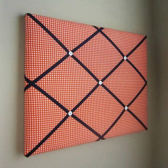 Orange Gingham Navy Blue 16x20 Memory Board Bow Board Ribbon